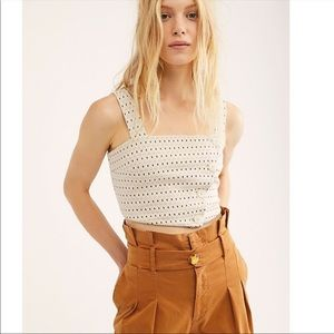 Free People | Boho Buttons Strappy  Crop Top Sz S